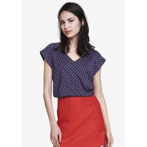 Express Tops - Express Patterned Rolled-Sleeve Blouse